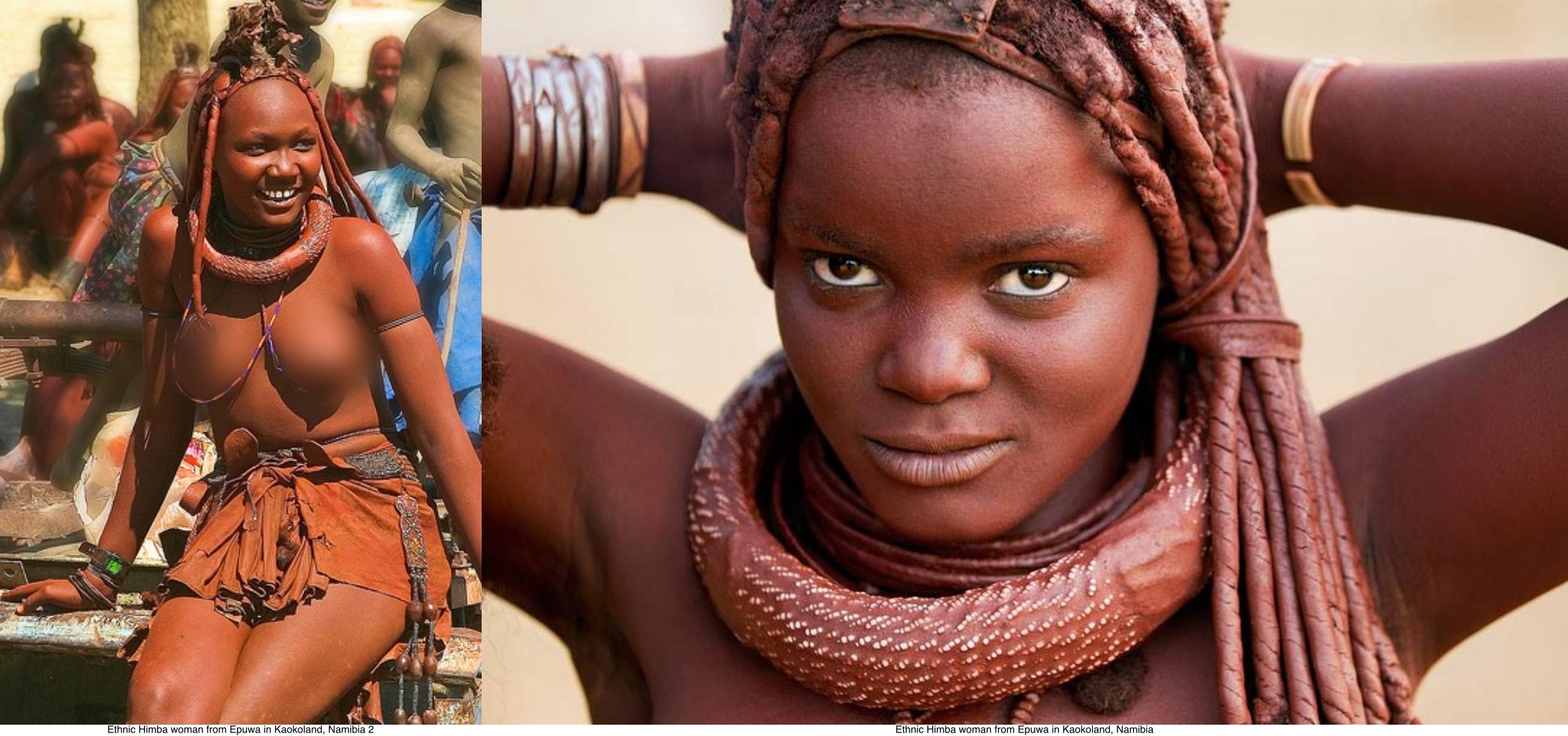 Ethnic Himba woman from Epuwa in Kaokoland, Namibia with